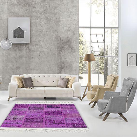 baskılı kilim klasik eskitme patchwork desen mor renk