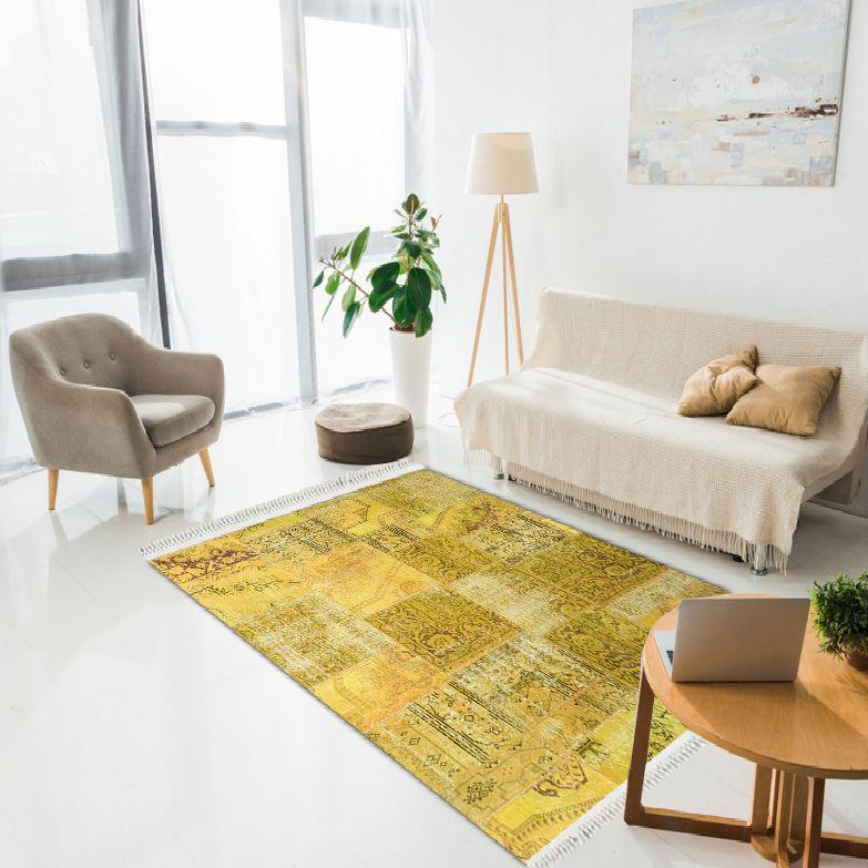 baskılı kilim klasik eskitme patchwork desen sarı renk