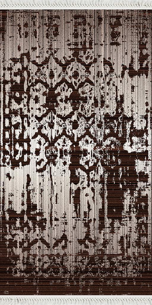 baskılı kilim klasik eskitme silik damask kahve renk