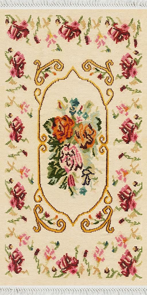 baskılı kilim klasik nakış çiçekli göbekli desen ekru renk