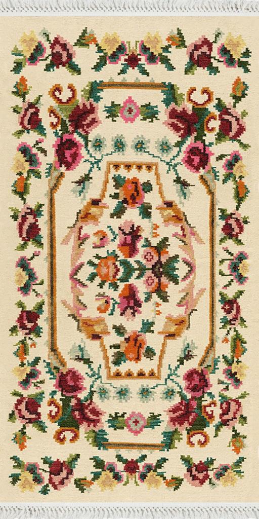 baskılı kilim klasik nakış desen bordo çiçekli göbekli bej