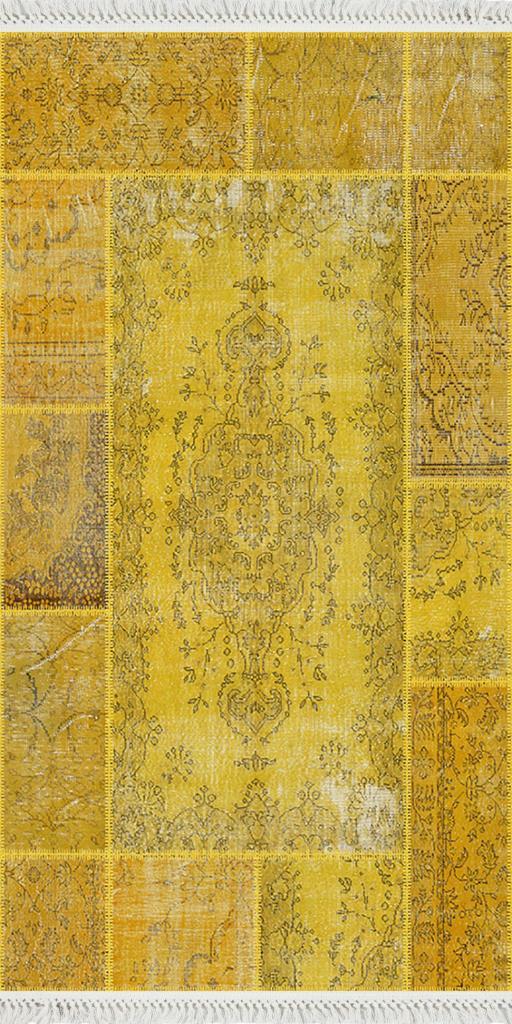baskılı kilim klasik orta patchwork desen sarı renk
