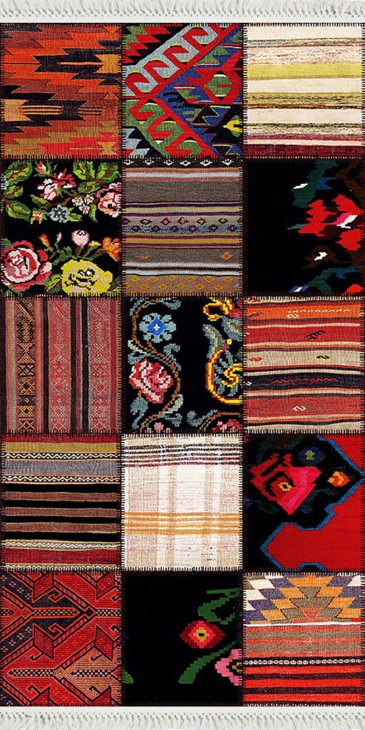 baskılı kilim klasik patchwork etnik  desen renkli