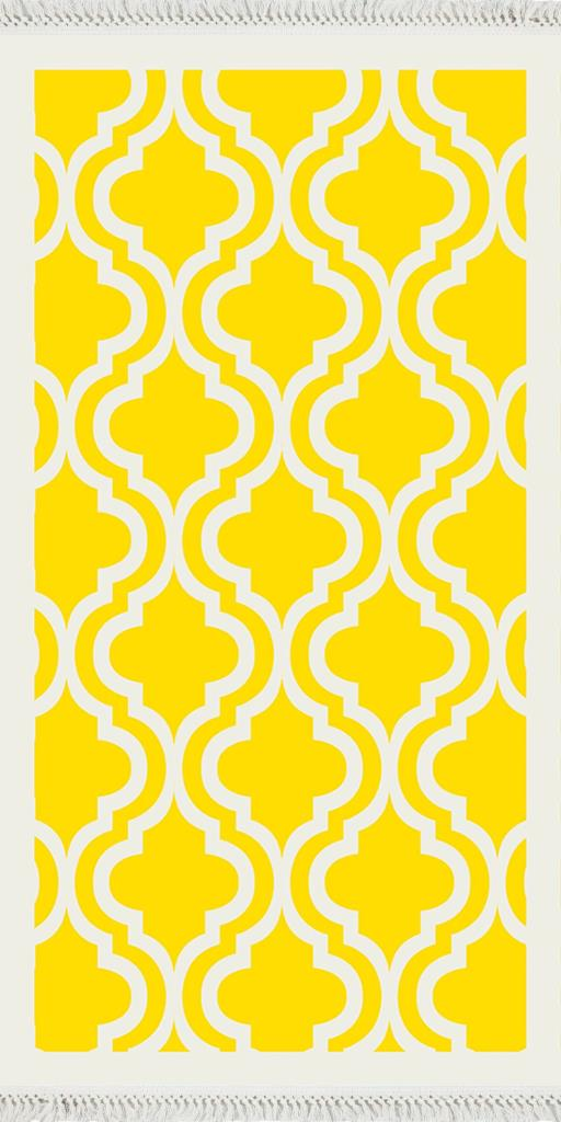 baskılı kilim klasik kafes desen ekru sarı zeminli