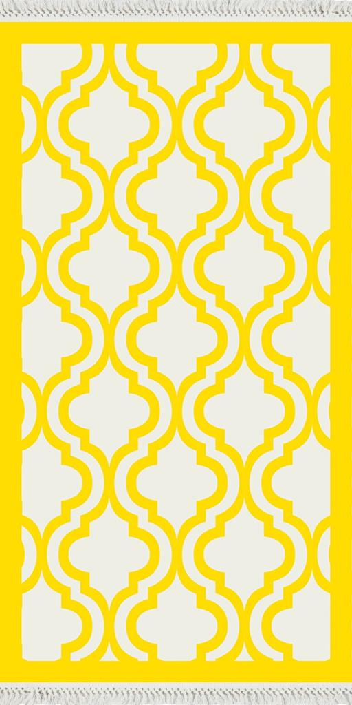 baskılı kilim klasik kafes desen sarı ekru zeminli
