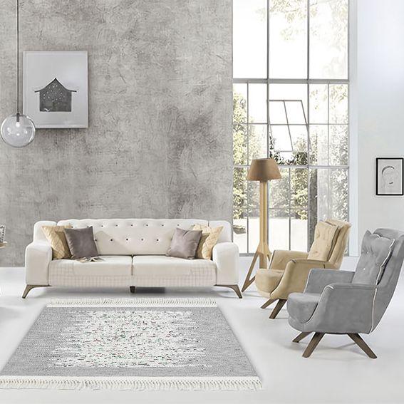 baskılı kilim modern bej ve gri pembe renkli