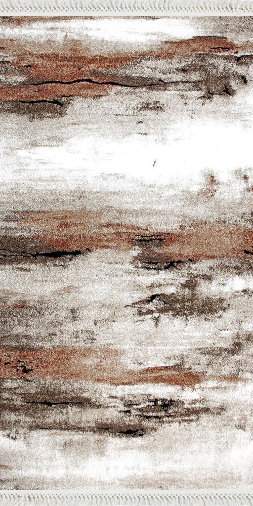 baskılı kilim modern bej ve kahve rengi çizgili