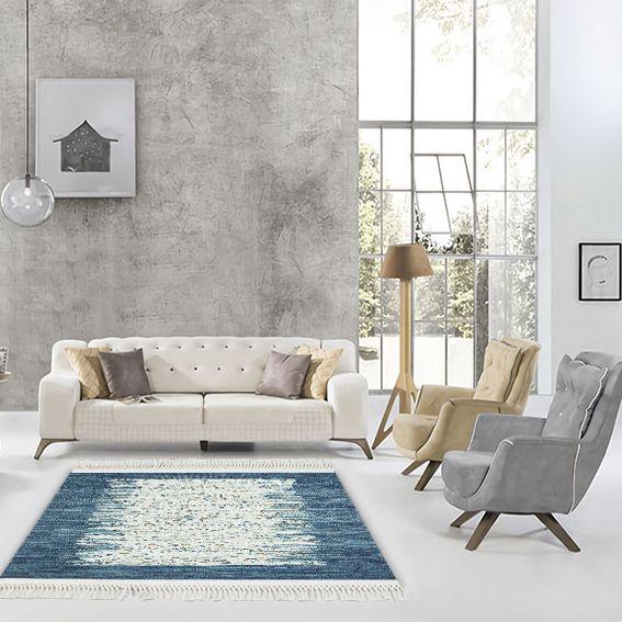 baskılı kilim modern bej ve lacivert renkli