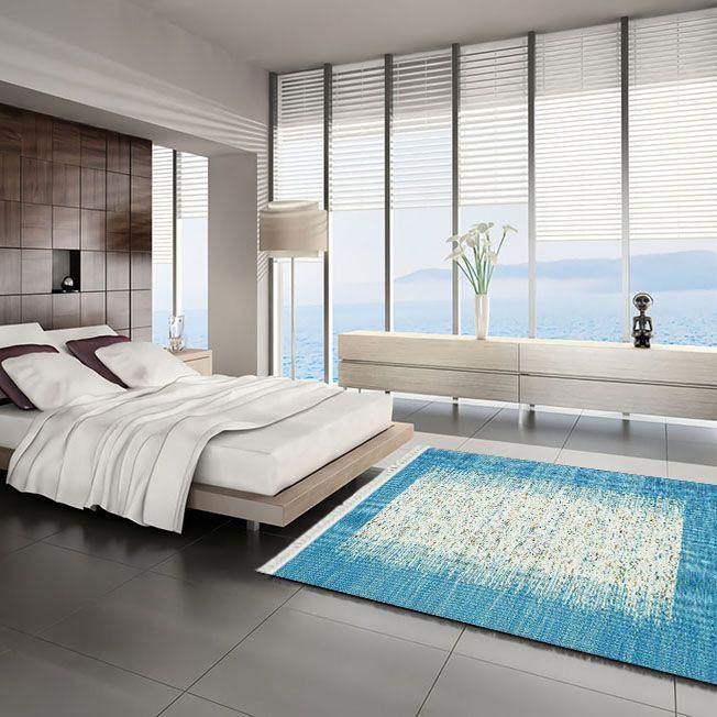 baskılı kilim modern bej ve mavi renkli renkli