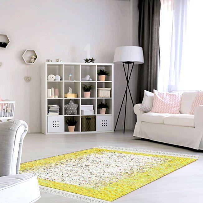 baskılı kilim modern bej ve sarı renkli  renkli