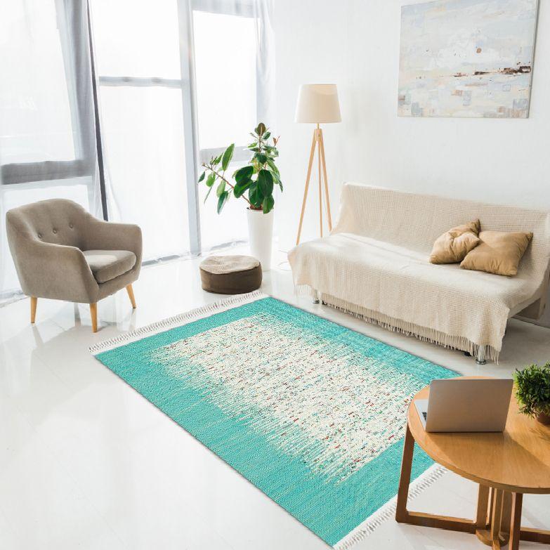 baskılı kilim modern bej ve turkuaz renkli