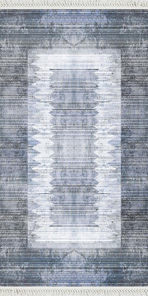 baskılı kilim modern çizgili eskitme efektli laci mavi