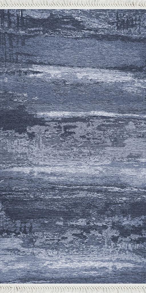 baskılı kilim modern eskitme alacalı desen laci mavi