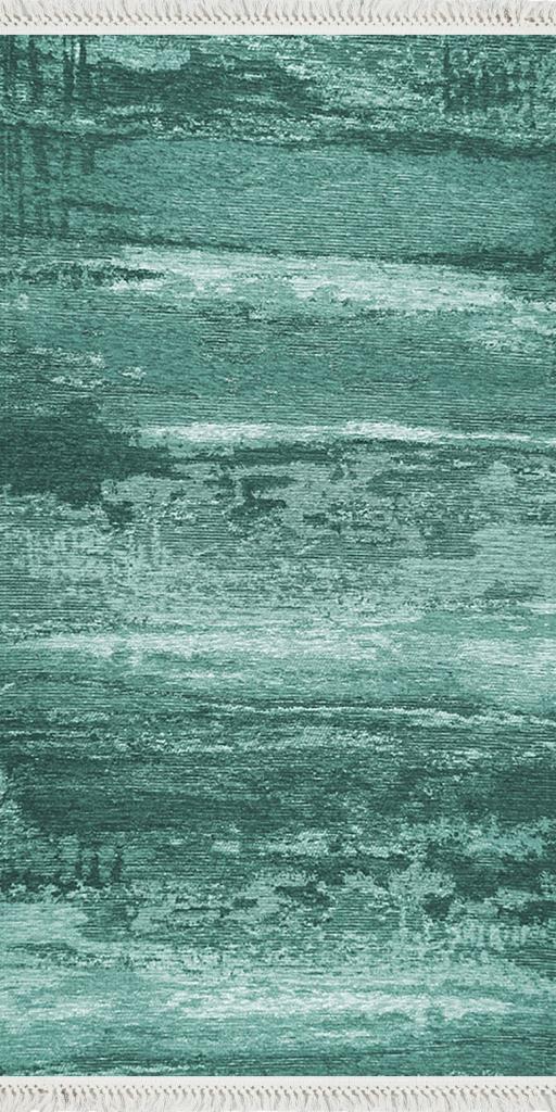 baskılı kilim modern eskitme alacalı desen yeşil turkuaz