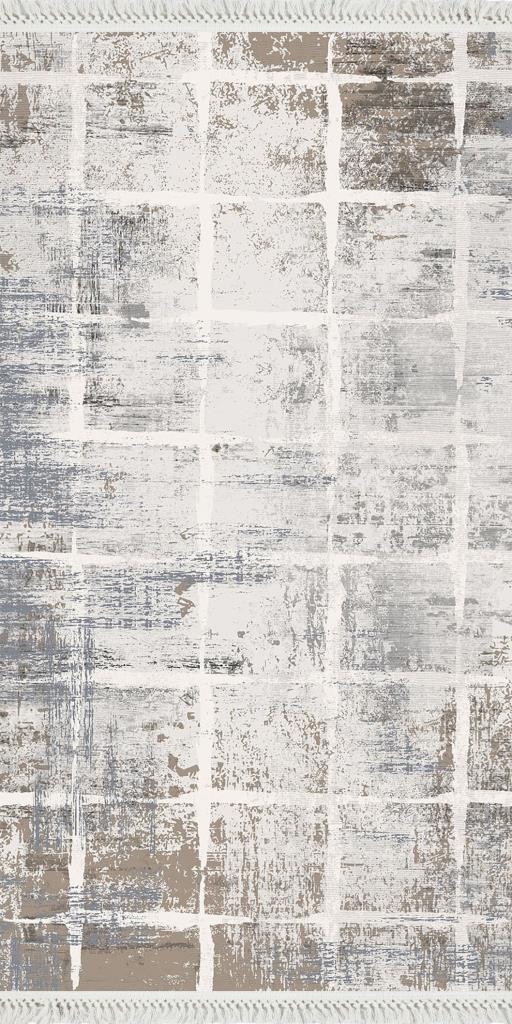 baskılı kilim modern eskitme dama desen gri bej