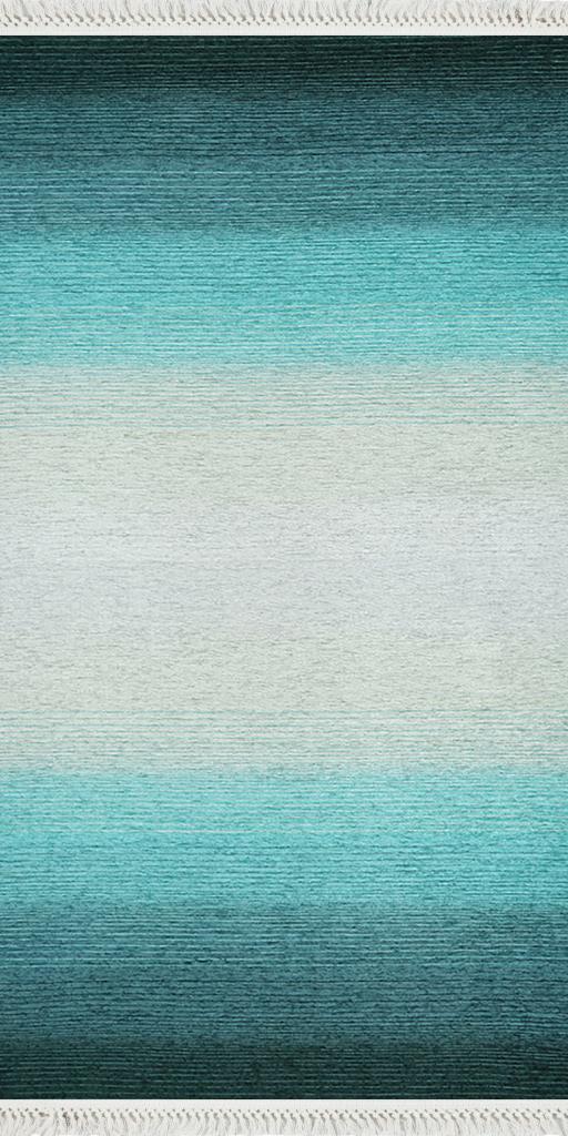 baskılı kilim modern eskitme efek çizgili laci turkuaz renk