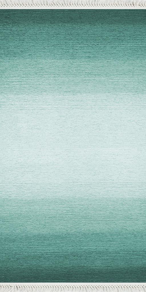 baskılı kilim modern eskitme efektli çizgili yeşil geçişli