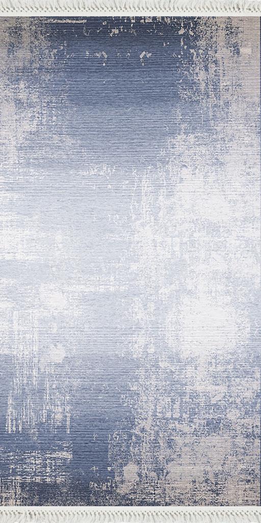 baskılı kilim modern eskitme efektli desen mavi laci renk
