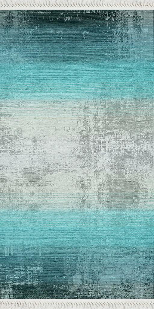 baskılı kilim modern eskitme efektli laci turkuaz renk