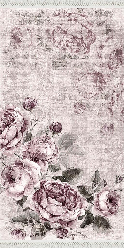 baskılı kilim modern eskitme gül desen lila