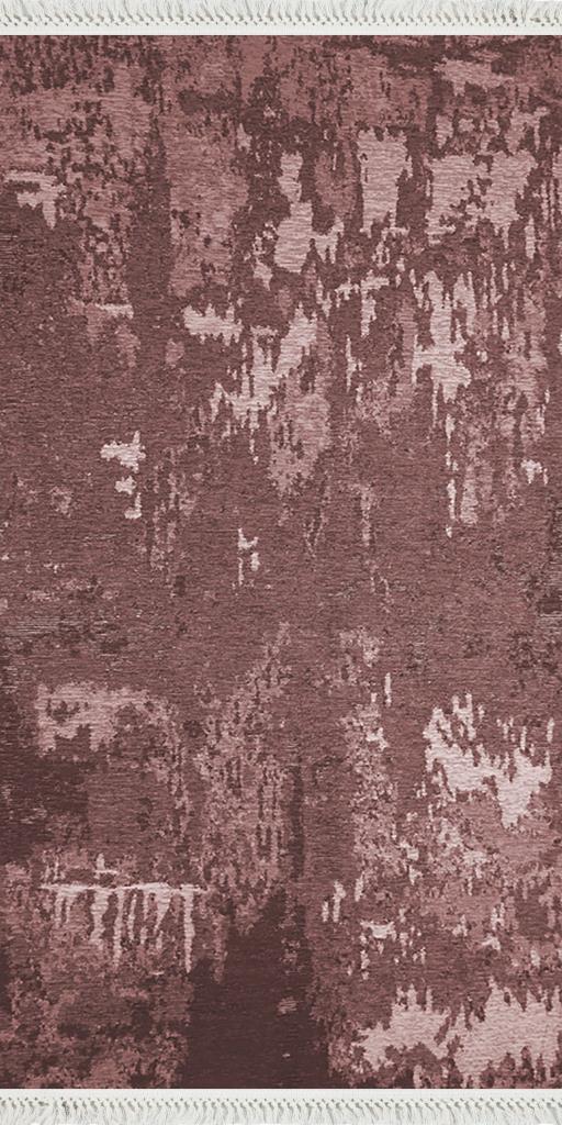 baskılı kilim modern eskitme parçalı desen bordo kahve
