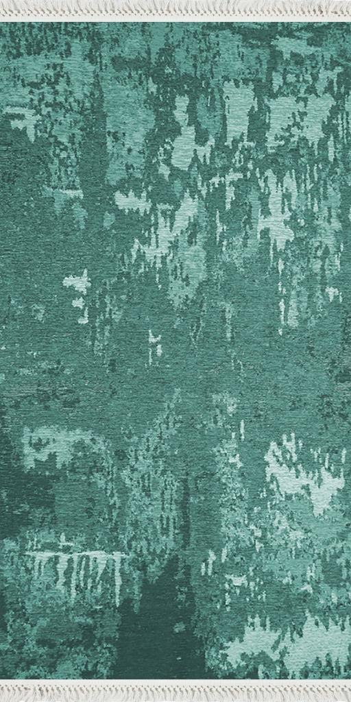 baskılı kilim modern eskitme parçalı desen camgöbeği yeşil