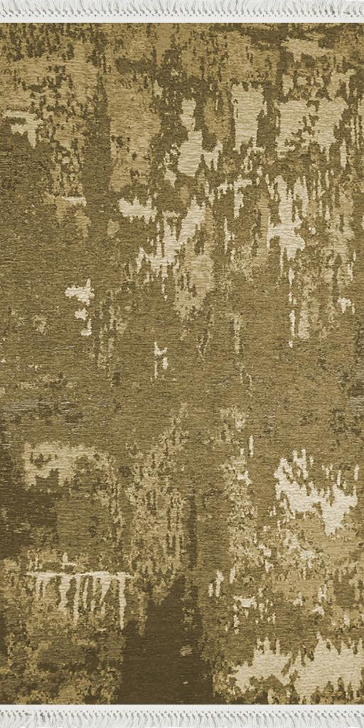 baskılı kilim modern eskitme parçalı desen hardal sarı