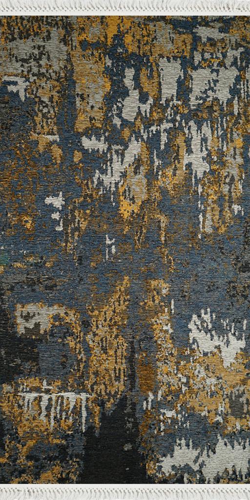 baskılı kilim modern eskitme parçalı desen laci hardal