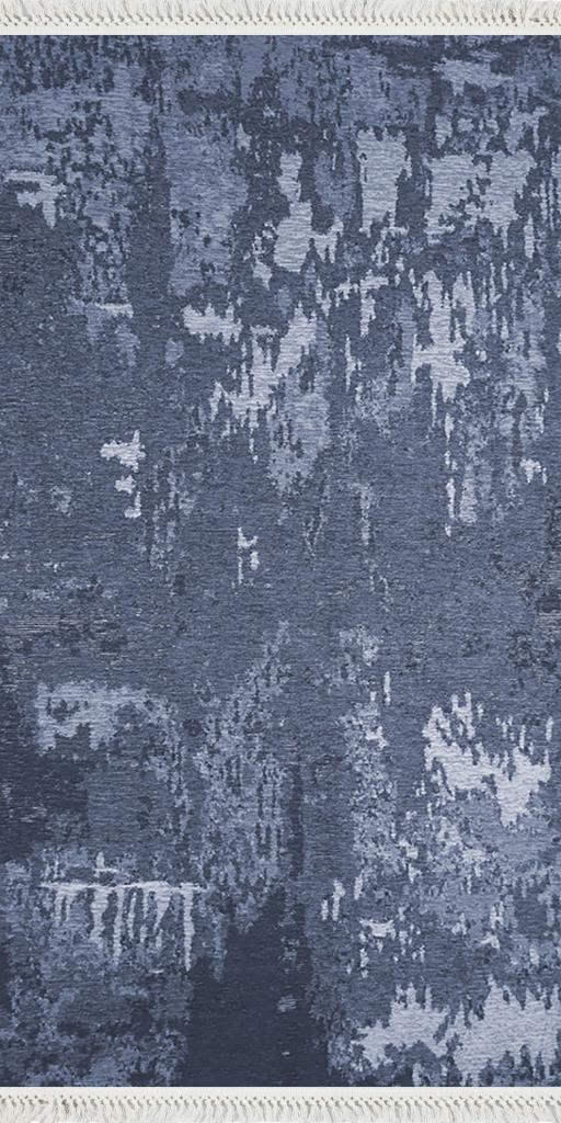 baskılı kilim modern eskitme parçalı desen mor mavi laci