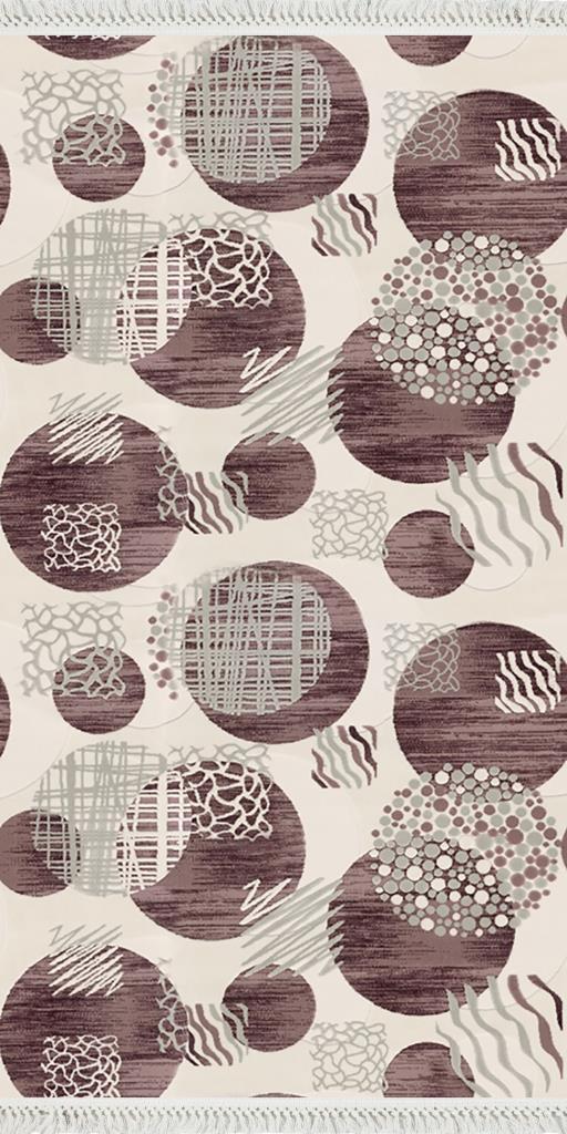 baskılı kilim modern geometrik desen bej kahve renk