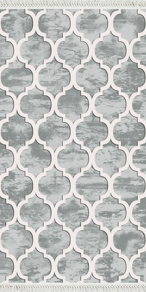 baskılı kilim modern geometrik desenli gri