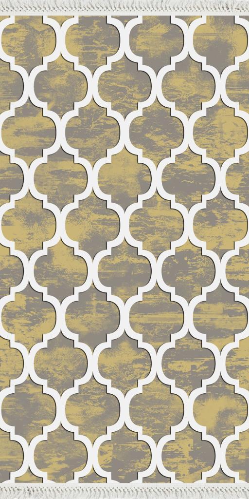 baskılı kilim modern geometrik desenli gri sarı