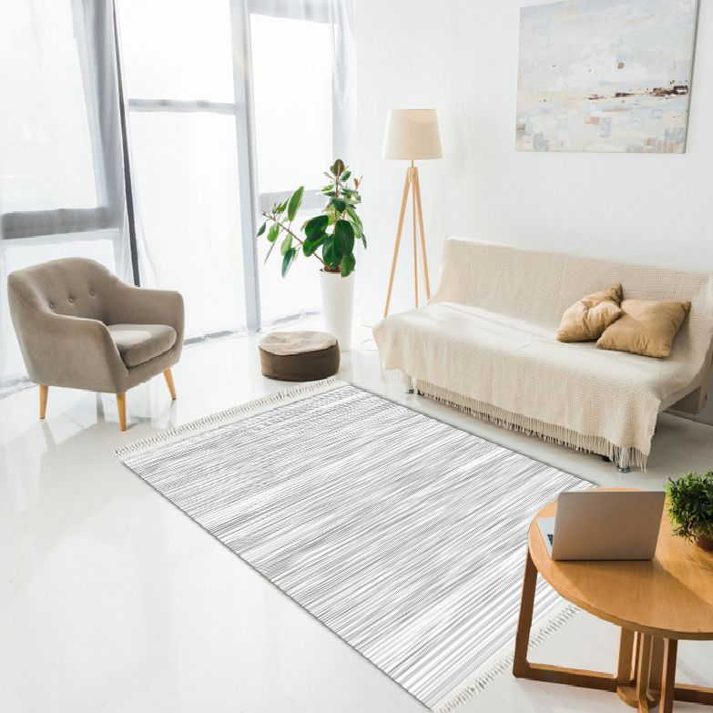 baskılı kilim modern gri beyaz çizgili