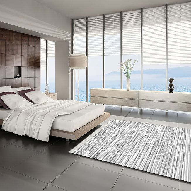 baskılı kilim modern hareketli çizgili siyah gri beyaz