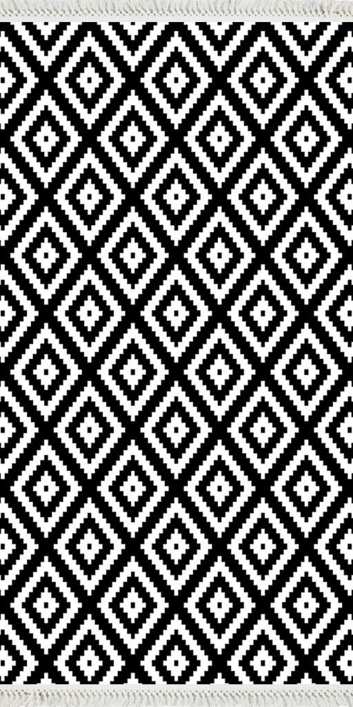 baskılı kilim modern kare zigzag desenli beyaz siyah