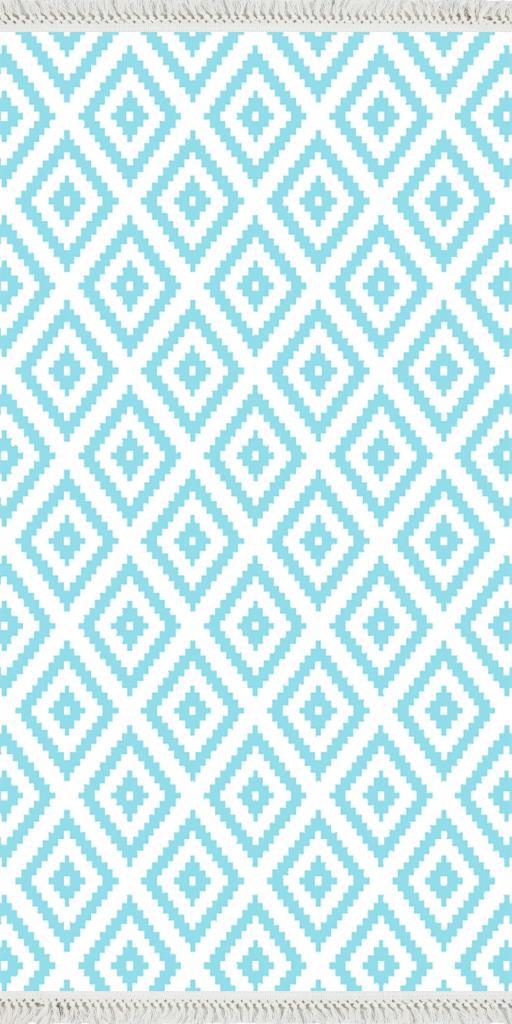 baskılı kilim modern kare zigzag desenli mavi beyaz