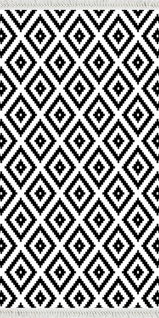 baskılı kilim modern kare zigzag desenli siyah beyaz