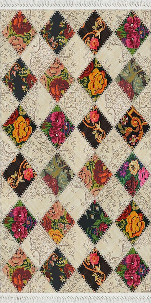 baskılı kilim modern patchwork çiçek baklava desenli