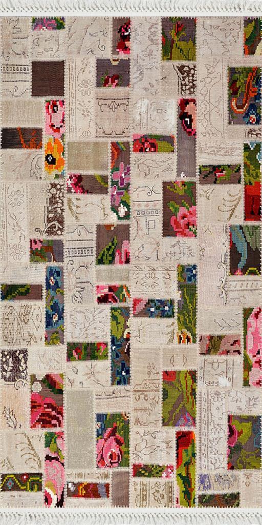 baskılı kilim modern patchwork çiçek dikdörtgen desenli