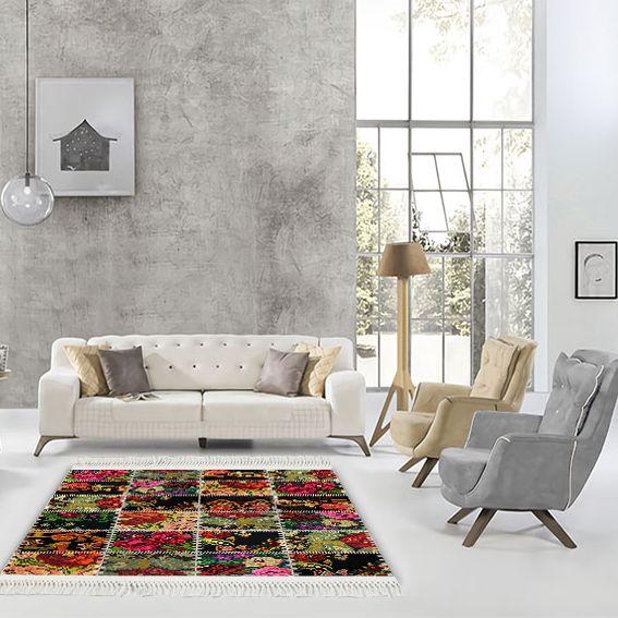baskılı kilim modern patchwork çiçek dikiş desenli