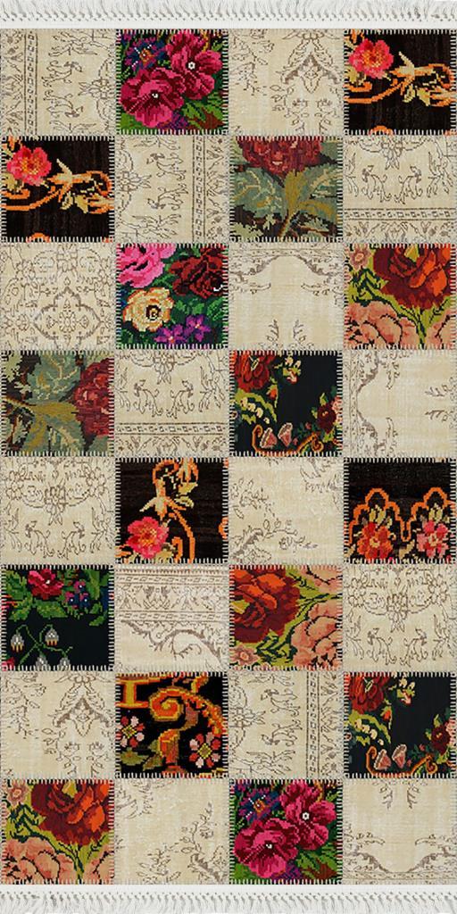 baskılı kilim modern patchwork çiçek kare desenli