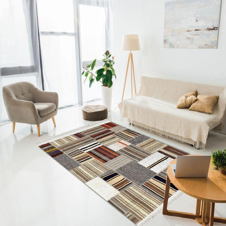 baskılı kilim modern patchwork çizgili desenli karışık renk