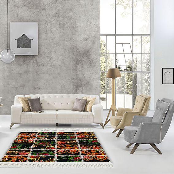 baskılı kilim modern patchwork damask çiçek dikiş desenli
