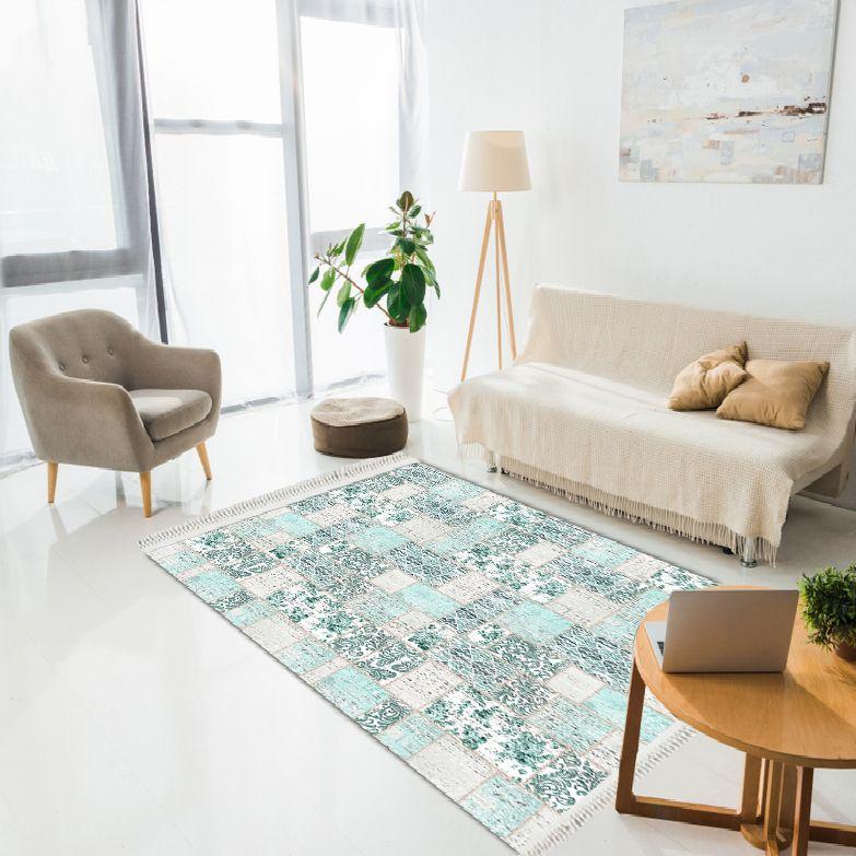 baskılı kilim modern patchwork damask efektli̇ mint renk