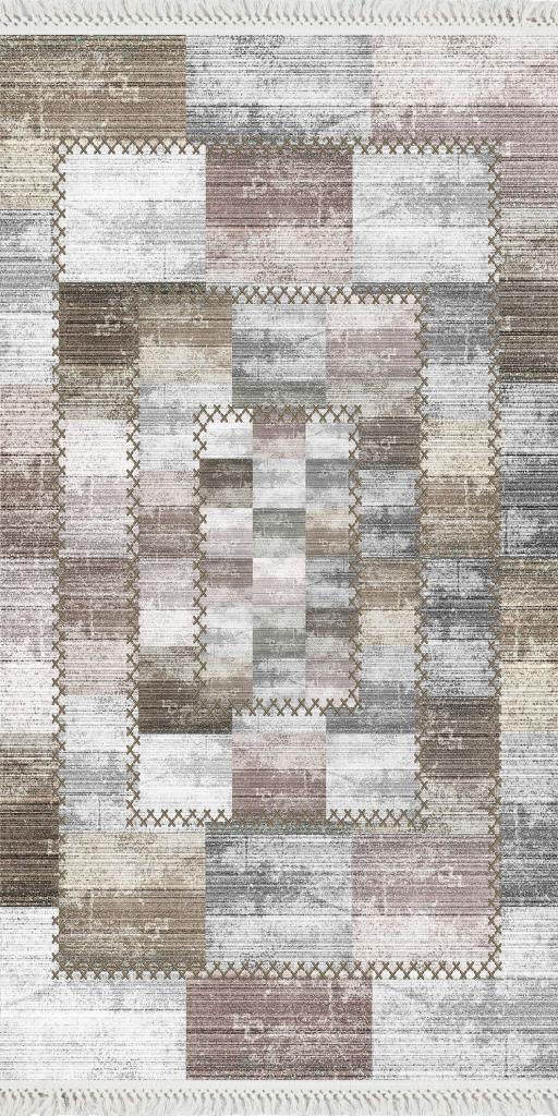 baskılı kilim modern patchwork efektli̇ bej