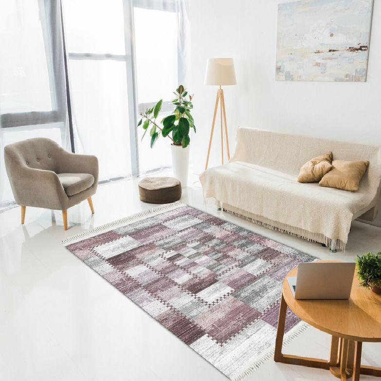 baskılı kilim modern patchwork efektli̇ bej mor gri