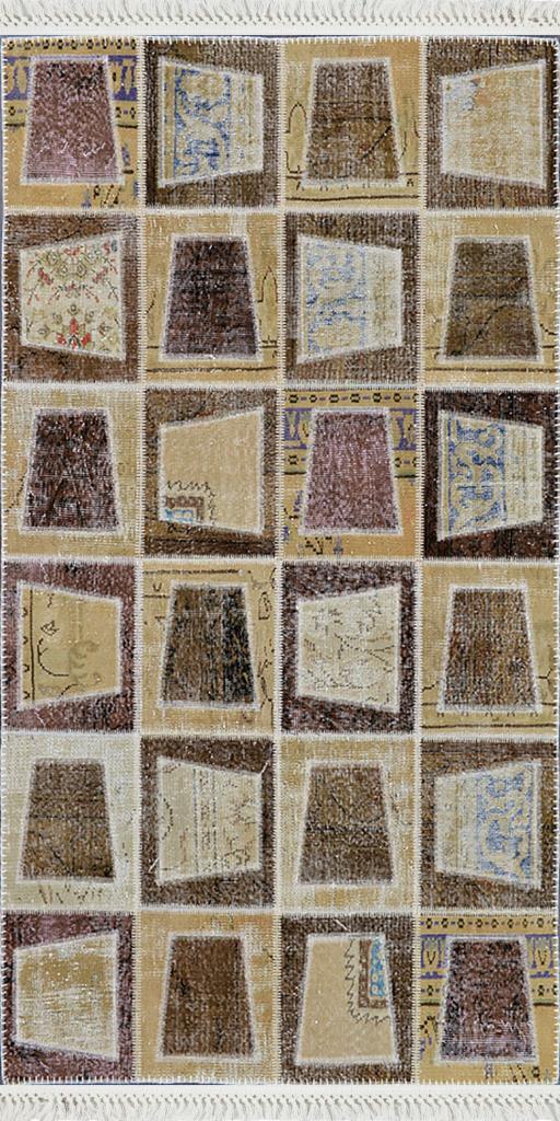 baskılı kilim modern patchwork efektli̇ etnik desen