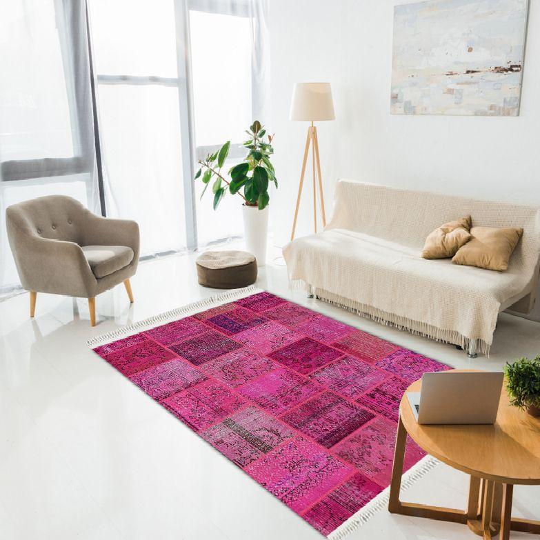 baskılı kilim modern patchwork efektli̇ fuşya renk