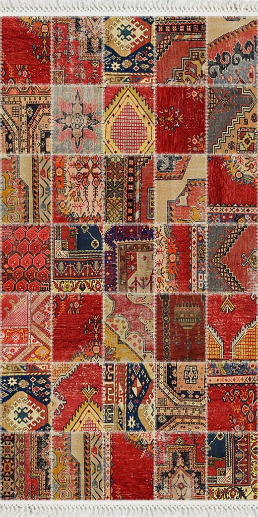 baskılı kilim modern patchwork efektli̇  desenli