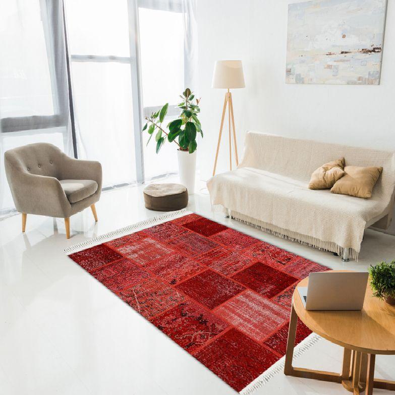 baskılı kilim modern patchwork efektli̇ kırmızı renk